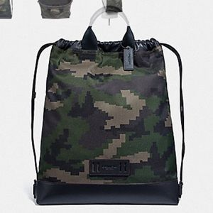 COACH TERRAIN DRAWSTRING BACKPACK PIXELATED CAMO
